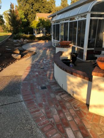 An image of finished brick pavers work in Chino Hills.